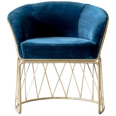 Equipal Brass and Blue Velvet Art Piece Arm Chair by ATRA