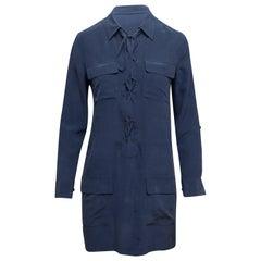 Equipment Navy Silk Long Sleeve Dress