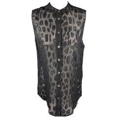 EQUIPMENT Size M Black Silk Blend Leopard Jacquard Chiffon Sleeveless Shirt