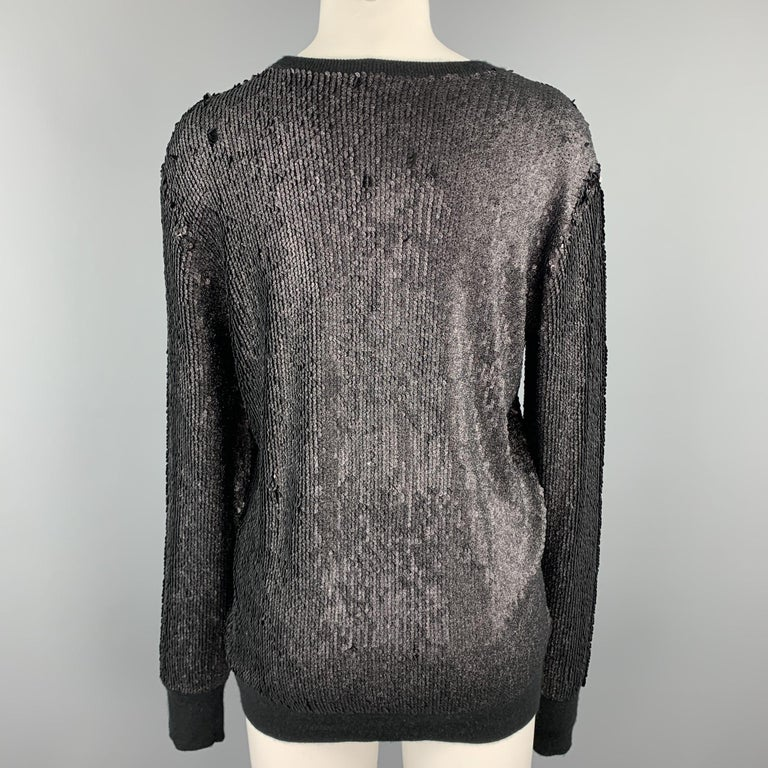 Black Sequined Viscose Blend Crew Neck