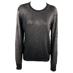 EQUIPMENT Size S Black Sparkle Sequined Knit Crew Neck Pullover