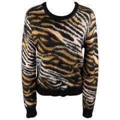EQUIPMENT Size S Black & Tan Tiger Print Mohair Blend Sweater