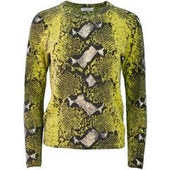 Equipment Yellow Cashmere Snake Print Sweater Sz XS