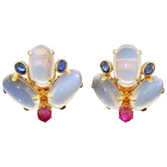 Equisite Large 14k Gold Moonstone Clip On Earrings with Ruby Sapphire Cabochons