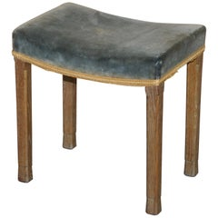ER II Limed Oak 1953 Queen Elizabeth II Coronation Stool Green Velvet Upholstery