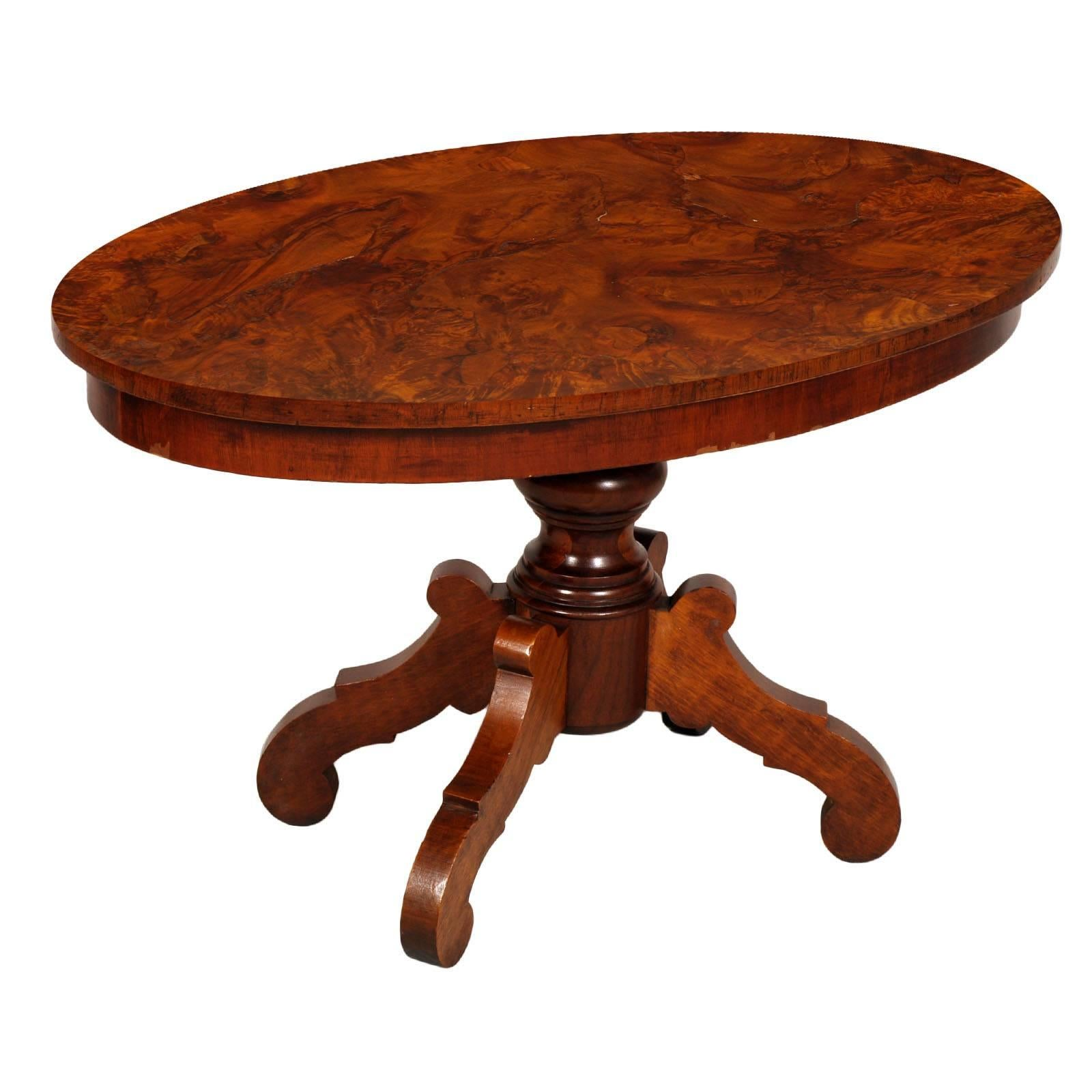Era Art Deco Coffee Center Table, in Walnut, Burl Walnut the Top, Wax-Polished