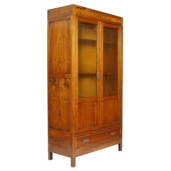 Era Art Nouveau Bookcase Wardrobe, Walnut, Inlay Front, Restored Wax-Polished
