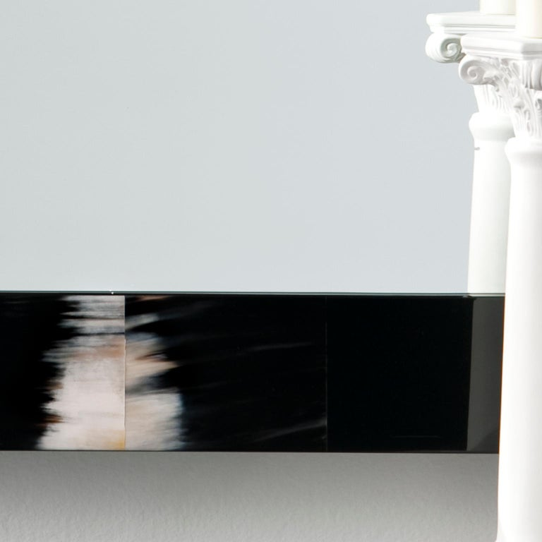 Italian Erasmo Wall Mirror in Black Lacquered Wood with Dark Horn Inlays, Mod. 1420 For Sale