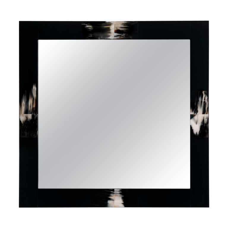 Erasmo Wall Mirror in Black Lacquered Wood with Dark Horn Inlays, Mod. 1420 For Sale
