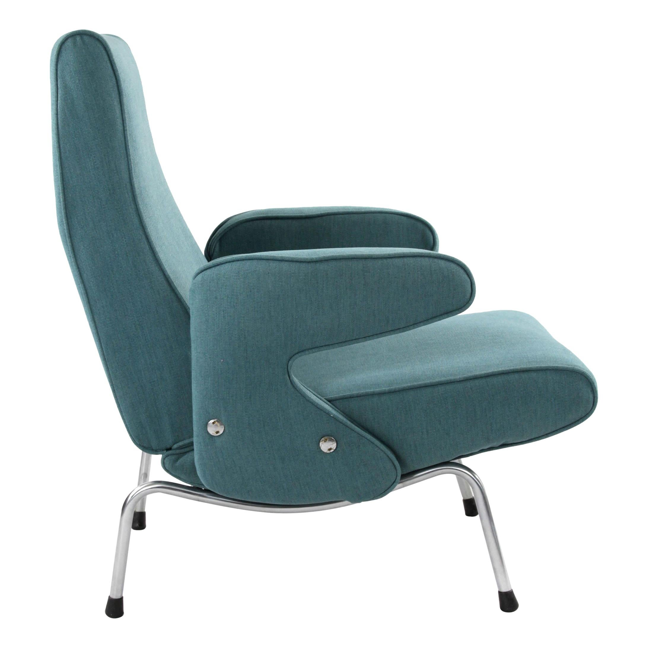 Erberto Carboni for Arflex Light Blue Delfino Chair with Chrome Legs, 1955