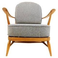 Ercol Herringbone Grey Easy Lounge Armchair Vintage Midcentury Model 203