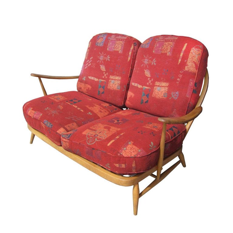 Mid-Century Modern Ercol Spindleback Settee and Lounge Chair Set For Sale