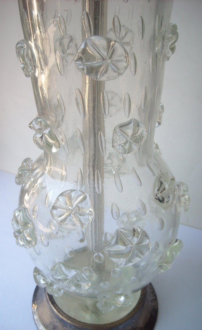 This is a rare and early Murano lamp by the well known artist Ercole Barovier. The glass alone measures approximate, 16