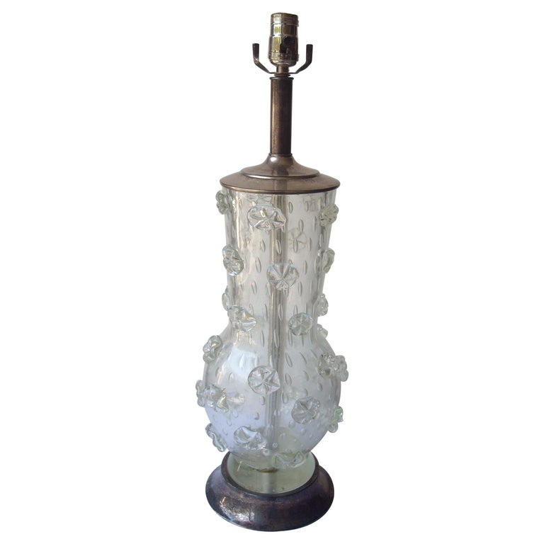 "Ercole Barovier ""A Stelle"" Large, Rare, Murano Glass Table Lamp For Sale"