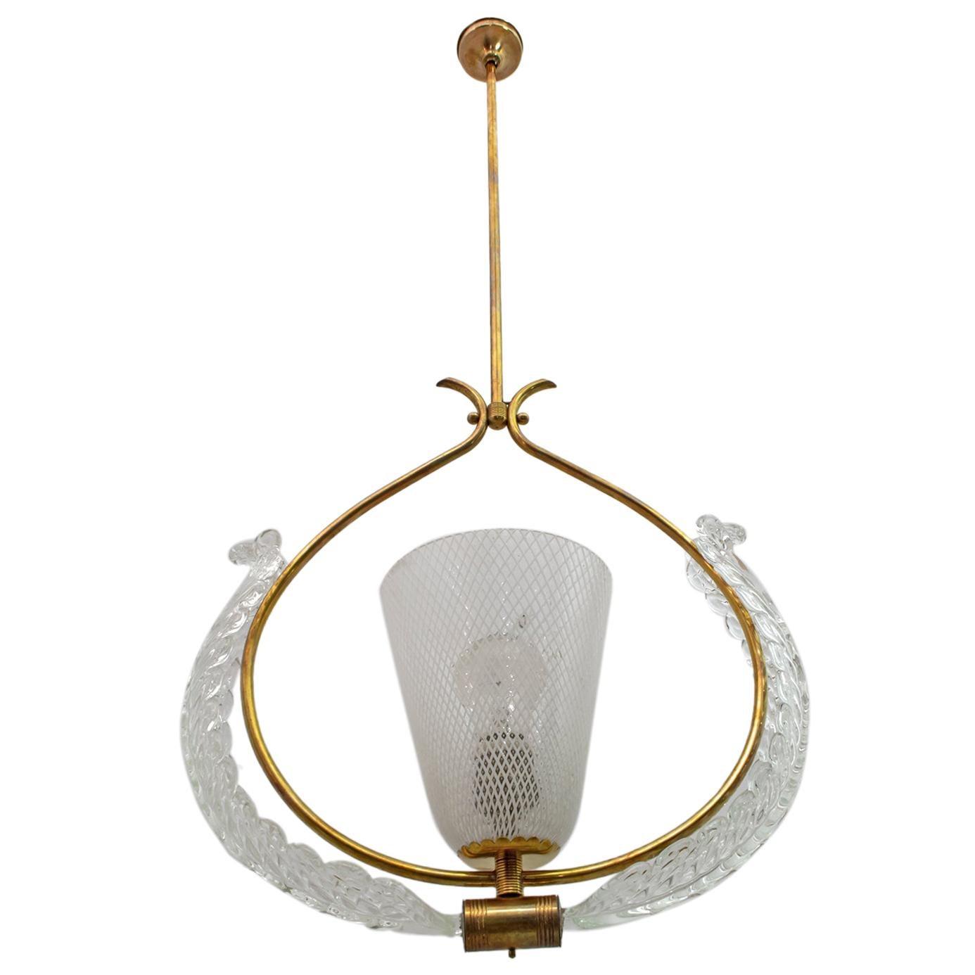 """Ercole Barovier Art Deco Italian Murano Glass """"Reticello"""" Pendant, 1940s"""