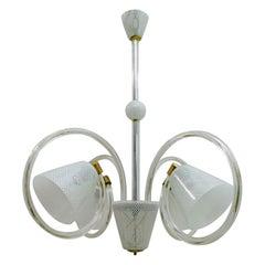 """Attributed Barovier Art Dèco Murano Glass """"Reticello"""" Italian Chandelier, 1940s"""