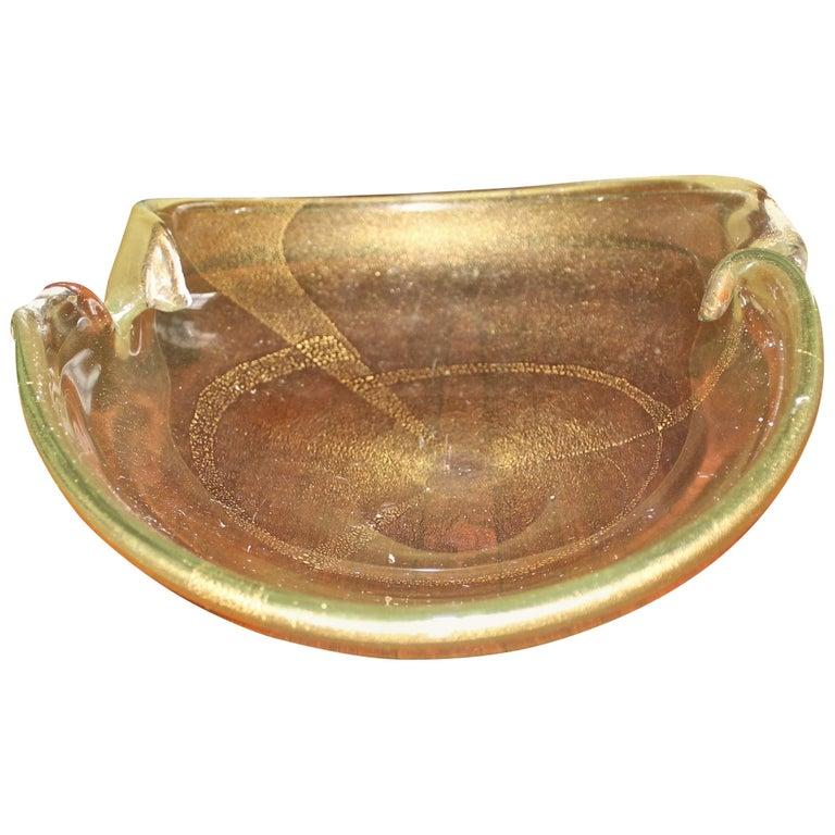 """Ercole Barovier """"Cordonato Oro"""" Large Bowl 1950 Murano Vetri For Sale"""