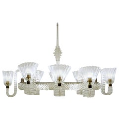 Ercole Barovier Eight Arms Chandelier, Italy, 1940s