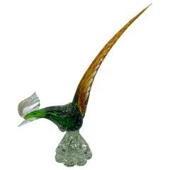 Ercole Barovier Green Gold Flecks Italian Art Glass Bird Sculpture, Italy, 1950s