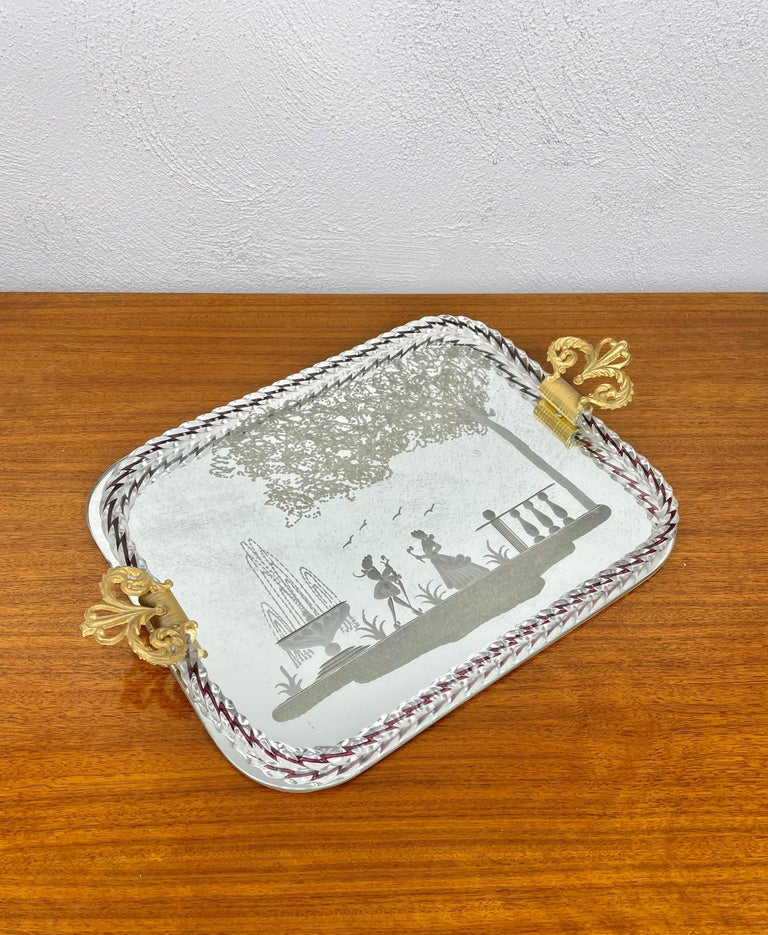 Mid-Century Modern Ercole Barovier Mirror-Engraved Murano Glass Italian Serving Tray, 1940s For Sale