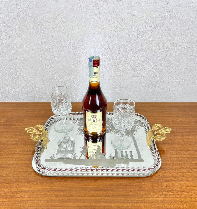 Mid-20th Century Ercole Barovier Mirror-Engraved Murano Glass Italian Serving Tray, 1940s For Sale