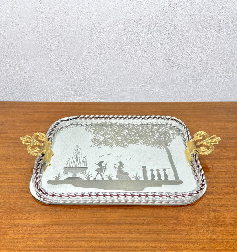 Ercole Barovier Mirror-Engraved Murano Glass Italian Serving Tray, 1940s For Sale 1