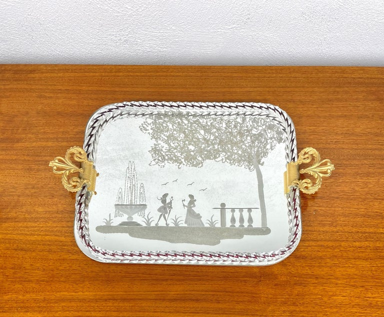 Ercole Barovier Mirror-Engraved Murano Glass Italian Serving Tray, 1940s For Sale 2