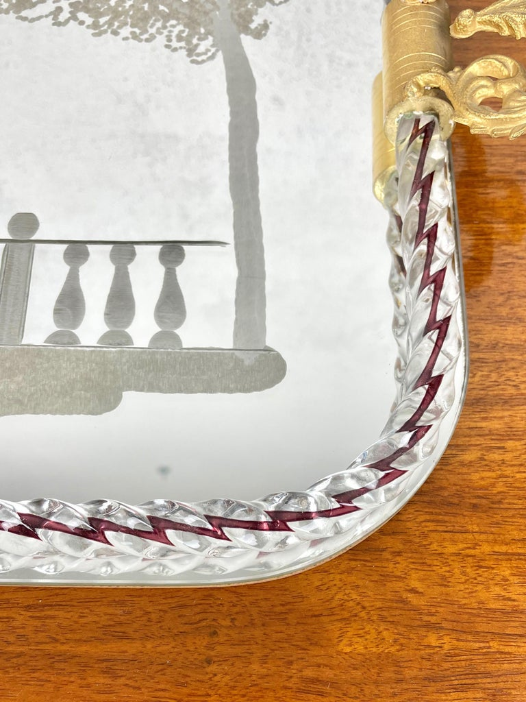 Ercole Barovier Mirror-Engraved Murano Glass Italian Serving Tray, 1940s For Sale 4