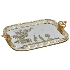 Ercole Barovier Mirror-Engraved Murano Glass Italian Serving Tray, 1940s