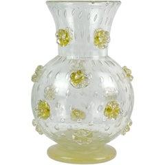 Ercole Barovier Murano 1942 a Stelle Gold Stars Italian Art Glass Flower Vase