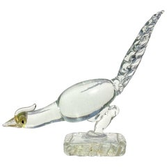 Ercole Barovier Murano Clear Gold Art Deco Italian Art Glass Pheasant Sculpture