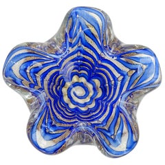 Ercole Barovier Murano Cobalt Blue Gold Flecks Italian Art Glass Flower Bowl