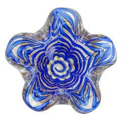 Ercole Barovier Murano Cobalt Blue Gold Flecks Italian Art Glass Flower Bowl
