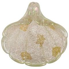 Ercole Barovier Murano Iridescent Gold Flecks Italian Art Glass Seashell Bowl