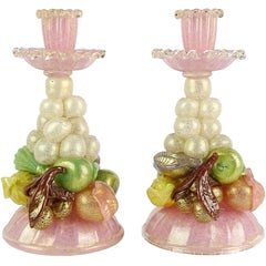 Ercole Barovier Murano Pink Gold Italian Art Glass Fruit Sculptural Candlesticks