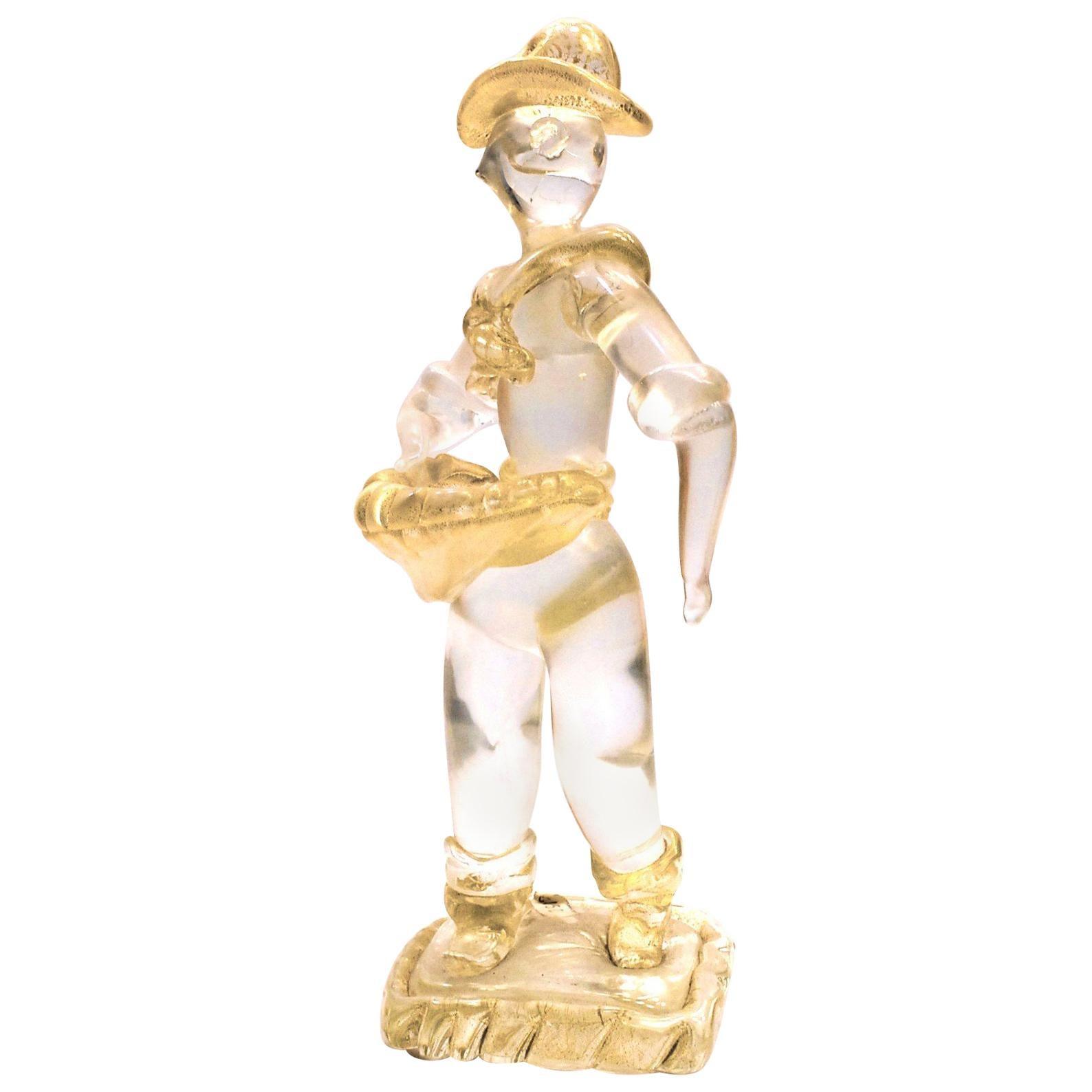 Ercole Barovier Murano Seminatore Clear Massiccio Glass Gold Applications, 1930