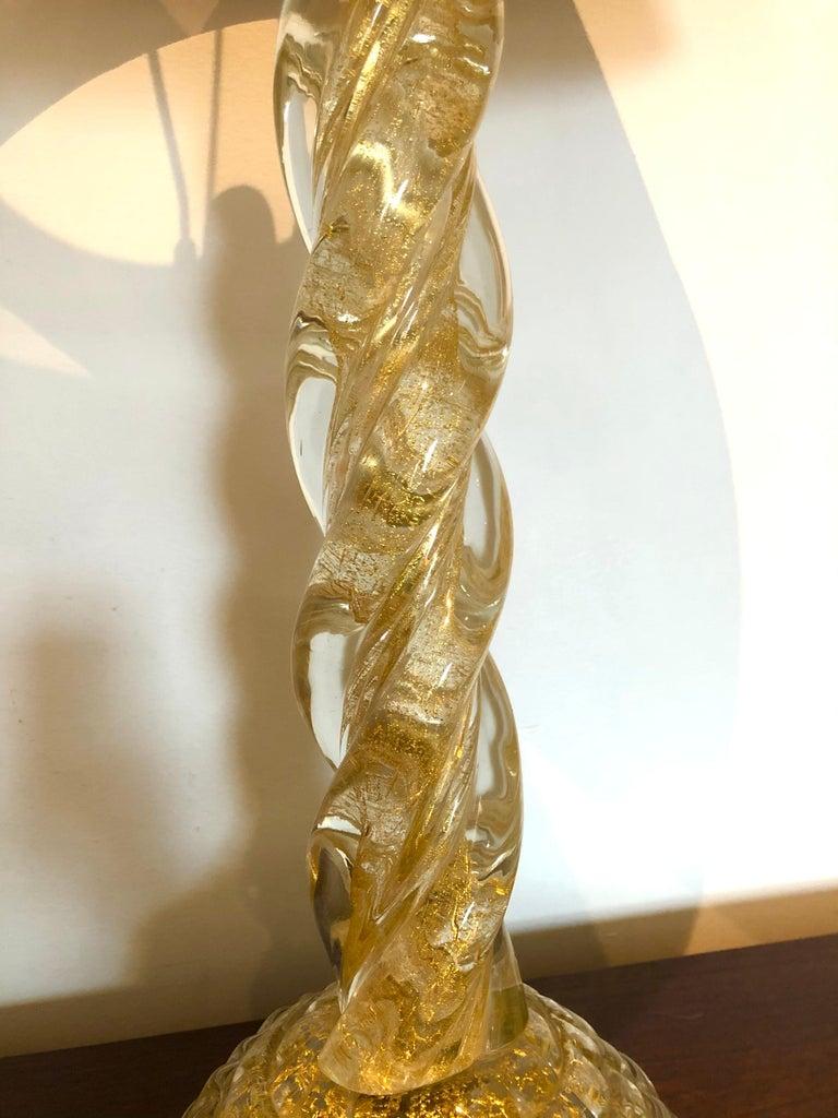 Ercole Barovier, Pair Massive Murano Glass Table Lamps For Sale 4