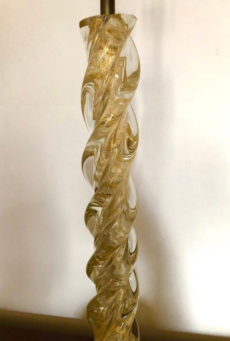Italian Ercole Barovier, Pair Massive Murano Glass Table Lamps For Sale