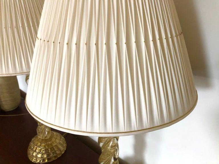 Ercole Barovier, Pair Massive Murano Glass Table Lamps For Sale 1