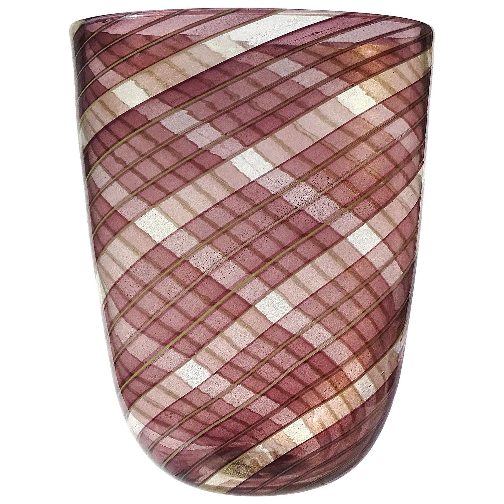 Ercole Barovier Toso Murano 1954 Purple Gold Flecks Italian Art Glass Vase