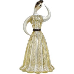 Ercole Barovier Toso Murano 50s Gold Flecks Italian Art Glass Woman Sculpture