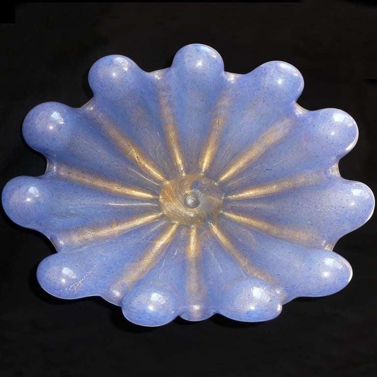 Art Deco Ercole Barovier Toso Murano Blue Gold Flecks Italian Art Glass Conch Shell Bowl For Sale