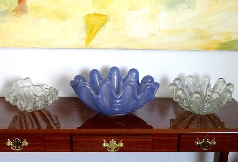 Mid-20th Century Ercole Barovier Toso Murano Blue Gold Flecks Italian Art Glass Conch Shell Bowl For Sale