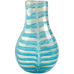 Ercole Barovier Toso Murano Blue Gold Flecks Italian Art Glass Flower Vase