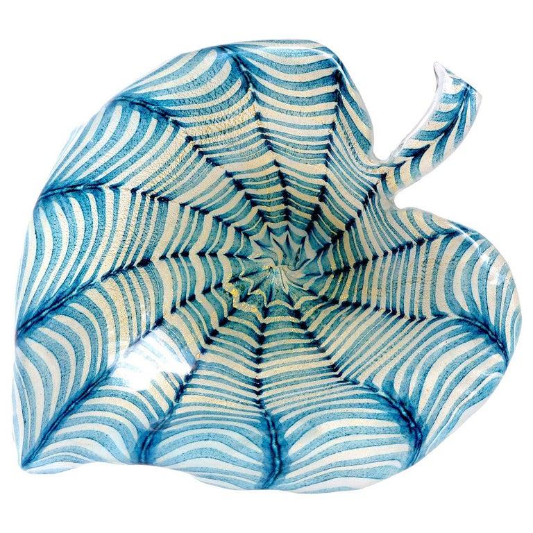 Ercole Barovier Toso Murano Gold Flecks Blue Spiderweb Italian Art Glass Bowl For Sale