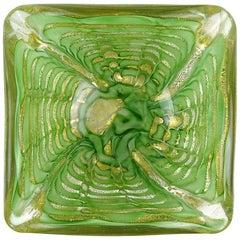 Ercole Barovier Toso Murano Gold Flecks Green Web Italian Art Glass Bowl