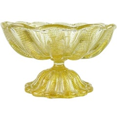 Ercole Barovier Toso Murano Gold Flecks Italian Art Glass Footed Compote Bowl