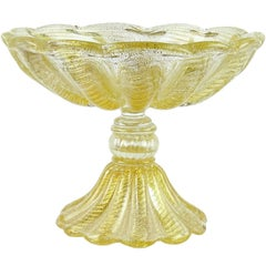 Ercole Barovier e Toso Murano Gold Flecks Italian Art Glass Footed Compote Bowl