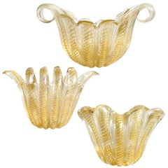 Ercole Barovier Toso Murano Gold Flecks Italian Art Glass Sculptural Vases