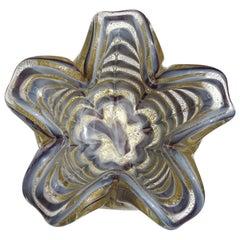 Ercole Barovier Toso Murano Gray Gold Flecks Italian Art Glass Flower Bowl
